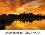 Sunset Over The Lake In The...