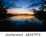 After Sunset Near The Lake In...