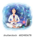 young business woman sitting on ... | Shutterstock . vector #682483678