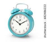 3d rendering blue alarm clock... | Shutterstock . vector #682486222