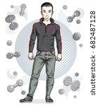handsome brunet young man is...   Shutterstock .eps vector #682487128