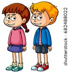 two kids with sleepy face...   Shutterstock .eps vector #682488022