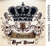 heraldic royal design of... | Shutterstock .eps vector #682495456