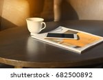 coffee mugs  telephones and... | Shutterstock . vector #682500892