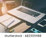 creative working desk with art...   Shutterstock . vector #682505488