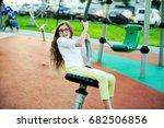 adorable school aged girl in... | Shutterstock . vector #682506856