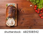 rolled  roasted pork belly. top ... | Shutterstock . vector #682508542