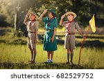 scouts three ready on the... | Shutterstock . vector #682529752