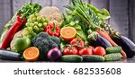 composition with assorted raw... | Shutterstock . vector #682535608