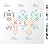 audio outline icons set.... | Shutterstock .eps vector #682543456