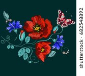 embroidery poppies and... | Shutterstock .eps vector #682548892