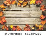 vintage autumn border from... | Shutterstock . vector #682554292