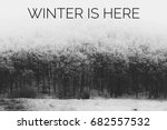 winter is here text with winter ... | Shutterstock . vector #682557532