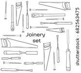 joinery icons set. carpenter... | Shutterstock . vector #682563475