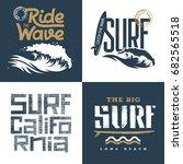 surfing artworks set  ... | Shutterstock .eps vector #682565518