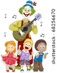 Illustration of Kids and a Clown Singing and Dancing the Birthday Song to the Accompaniment of a Guitar - stock vector