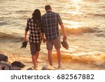 two young adult lovers standing ... | Shutterstock . vector #682567882