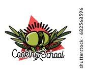 color vintage cooking school... | Shutterstock . vector #682568596