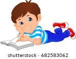 cute little boy reading book   Shutterstock .eps vector #682583062