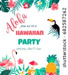tropical floral poster with... | Shutterstock .eps vector #682587262
