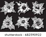 vector engraving rose set | Shutterstock .eps vector #682590922