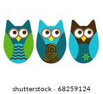 Three Different Owls On White...