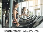 young women exercise together... | Shutterstock . vector #682592296