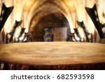 empty old table in front of... | Shutterstock . vector #682593598
