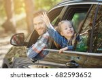 travel by car family trip...   Shutterstock . vector #682593652