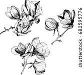 black and white line... | Shutterstock .eps vector #682595776