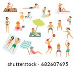 people relaxing on the beach.... | Shutterstock .eps vector #682607695