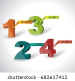 one two three four   3d vector... | Shutterstock .eps vector #682617412