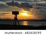 tripod holding mobile phone...   Shutterstock . vector #682618195