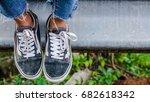 the women wore little black... | Shutterstock . vector #682618342