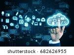 hand press cloud | Shutterstock . vector #682626955