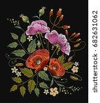 poppies and flowers embroidery... | Shutterstock .eps vector #682631062