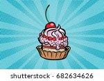 cupcake dessert with cherries... | Shutterstock .eps vector #682634626