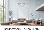 modern living room with... | Shutterstock . vector #682634782