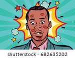 kissed the embarrassed african... | Shutterstock .eps vector #682635202