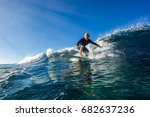 muscular surfer with long white ... | Shutterstock . vector #682637236