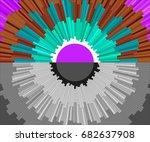 sunrise  violent sun. black and ... | Shutterstock .eps vector #682637908