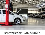 white car repair station with... | Shutterstock . vector #682638616