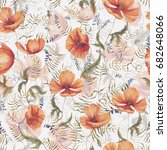 hand drawn watercolor floral... | Shutterstock . vector #682648066