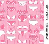 big collection of women's bras... | Shutterstock .eps vector #682658686