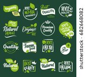 Set of stickers and badges for organic food and drink, restaurant, food store, natural products, farm fresh food,  e-commerce, healthy product promotion. | Shutterstock vector #682668082