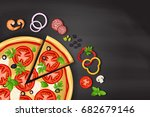 pizza on the chalkboard with... | Shutterstock .eps vector #682679146