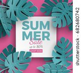 summer sale banner with paper... | Shutterstock .eps vector #682680742