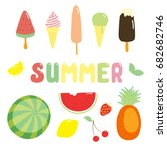 set of hand drawn bright summer ... | Shutterstock .eps vector #682682746