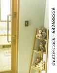 vintage door handles on wood... | Shutterstock . vector #682688326