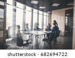 Stock photo corporate business team and manager in a meeting 682694722